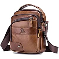 Men's Shoulder Bag, Popoti Handbag Crossbody Bag Leather Shopping School Backpack Messenger Carrying Bags Tote Wallet Small Pocktes 18cm