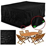 FEMOR Rectangular Patio Furniture Covers,Table Chair Set Cover Protector Outdoor Garden,Durable and Water Resistant Fabric (Large: 250*200*80cm (LxWxH))