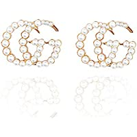 SaunterWay Fashion Pearl Stud Earrings Luxury Faux Pearl Beads Initial Letter G and C Statement Earrings for Women Gold & Silver & Rose gold