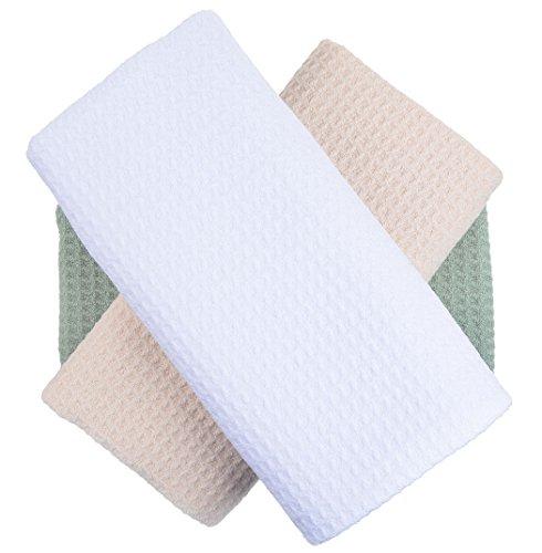 SINLAND 吸水 マイクロファイバー 食器 拭き ワッフルタオル ふきん ディッシュクロス(ホワイト+クリーム+グリーン 3枚)