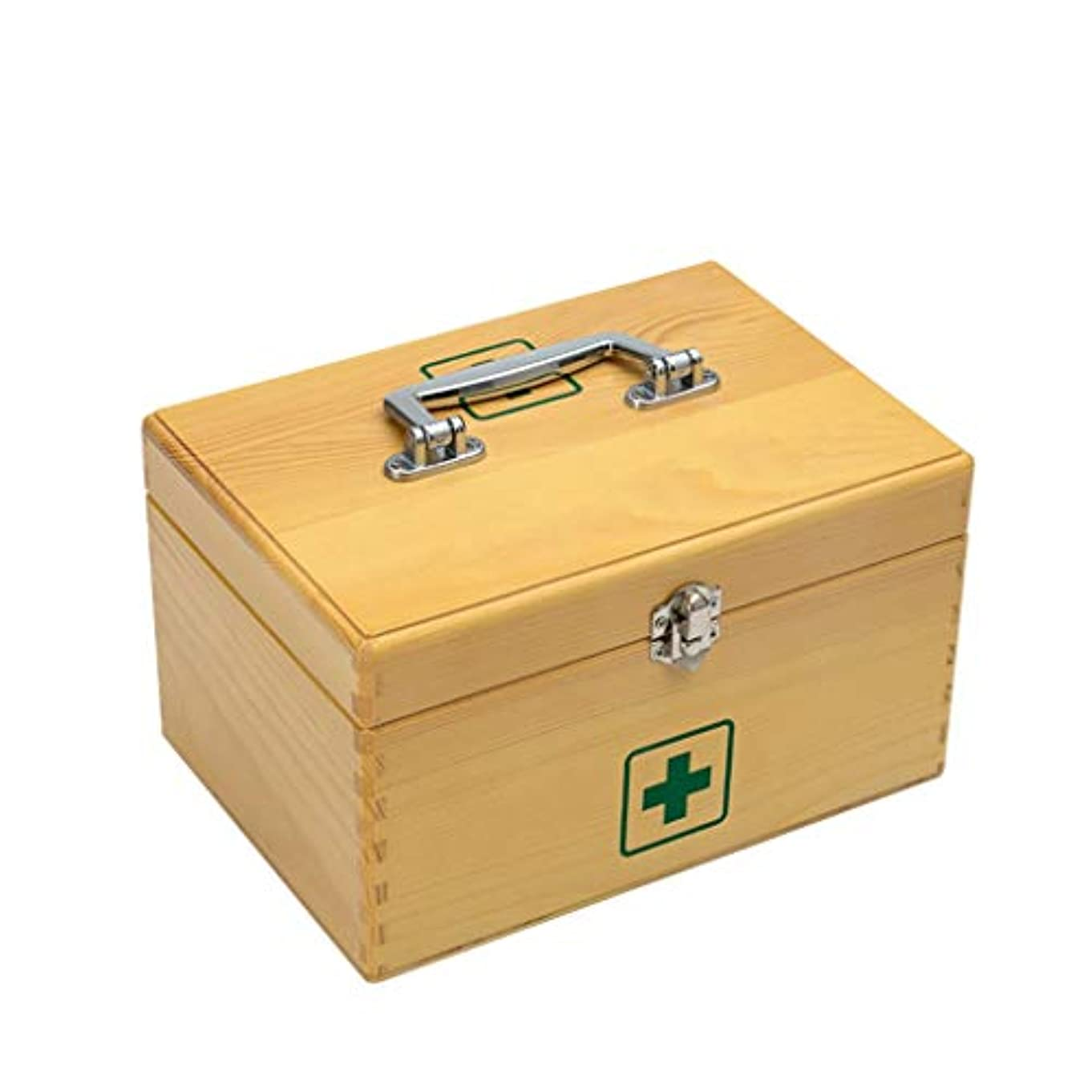 所持工業化する人種木製家庭用薬箱救急箱医療箱薬収納家庭用子供小さな薬箱外来ポータブル 薬箱 (Size : 28×20×13cm)