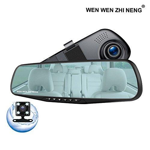 Jinwode ドライブレコーダー バックミラー型 ドラレコ 前後2カメラ 駐車監視 4.3インチ 1080P 140度広角