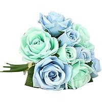 9頭人工リーフローズフローラル花、Funicシルクフェイク花ウェディングフローラルDecor Bouquet Decor M ブルー