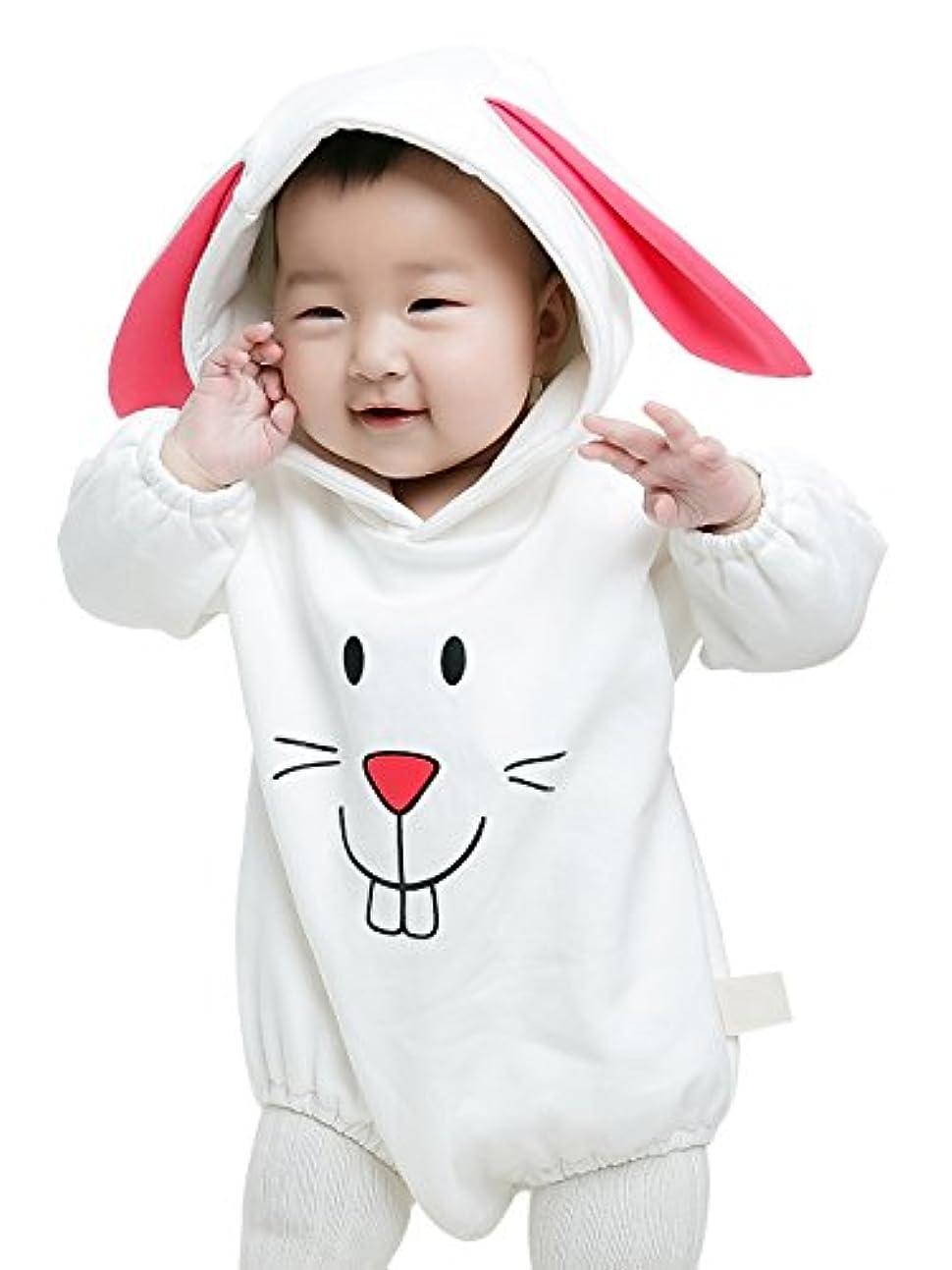 手伝う砂漠微生物(コ-ランド) Co-land ベビー服 可愛い ウサギ ロンパース カバーオール 長袖 フード付き 柔らかい コスチューム 着ぐるみ 赤ちゃん 男女兼用 100