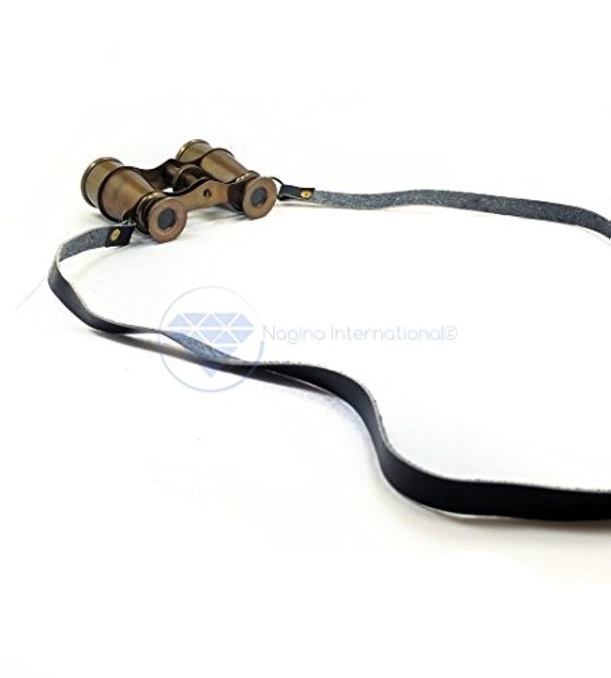 ずっと爪出席するNagina International 4インチ ソリッド アンティーク 真鍮 オペラグラス プレミアム航海素朴な双眼鏡 レザーストラップ付き