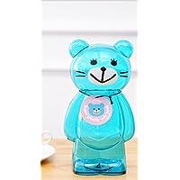 HuaQingPiJu-JP プラスチック透明な動物の漫画のピギーバンク創造的な子供の貯蓄箱(青)
