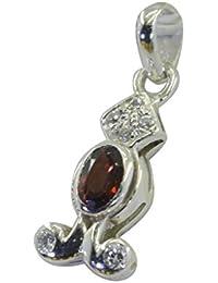 925赤いガーネット理世固体スターリングシルバー販売価格のペンダントリットルの0.7inのspgar-26132 [並行輸入品]