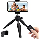 Mini Phone Tripod, Ibeston Lightweight Tabletop Tripod with Mobile Phone Holder and Remote Shutter, Compatible with iPhone/An