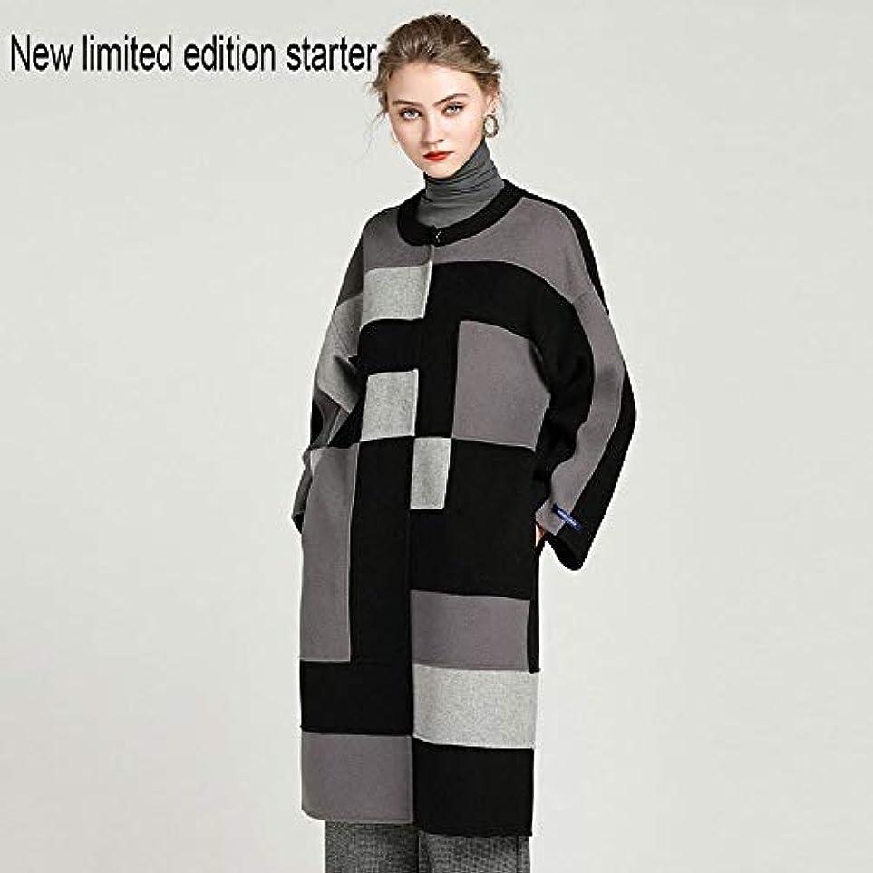 新しいウールの婦人服、2019秋と冬のカシミヤコートの女性の混色の両面ウールコート手縫いのウールの婦人服,S