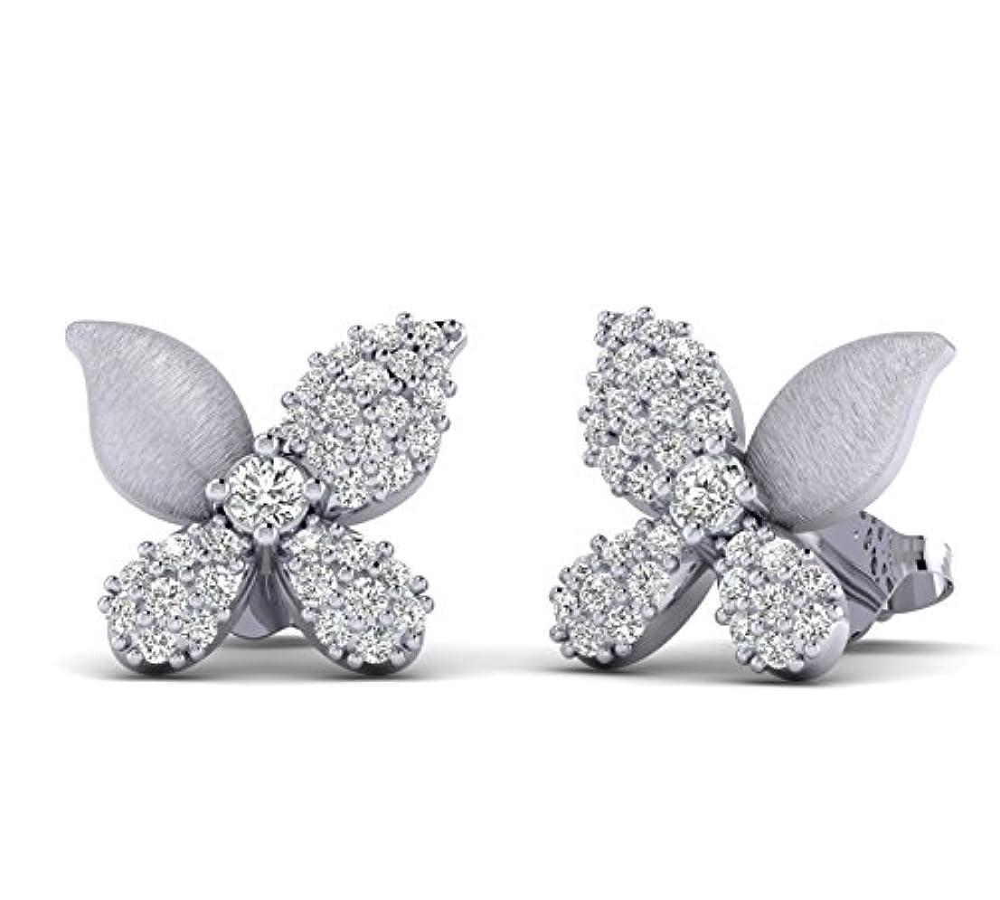 マントルビジョン数学Fehu Jewel 0.40cts 天然ダイヤモンドゴールド スターリングシルバー製 ユニークなバタフライピアス 愛用 ホワイト