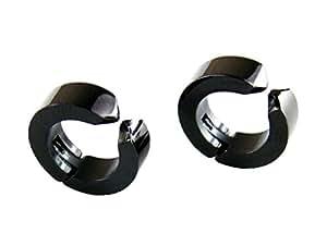 2個セット シンプル イヤーカフ 【ブラック】 チタン フェイクピアス 両耳用