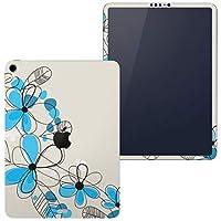 igsticker iPad Pro 12.9 inch インチ 専用 apple アップル アイパッド 2018 第3世代 A1876 A1895 A1983 A2014 全面スキンシール フル 背面 側面 正面 液晶 タブレットケース ステッカー タブレット 保護シール 人気 花 青 イラスト 005072