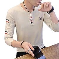 Beeatree メンズスリムロングスリーブVネックコンフォート100%コットンステッチTシャツ Pattern2 XL