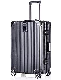 ボンイージ(bonyage) スーツケース アルミフレーム キャリーケース 機内持込 キャリーバッグ 軽量 キャリーバック 静音 大型 TSAロック付 人気色 ビジネス 旅行出張 安心の1年保証 ブラック Black Lサイズ 約98L
