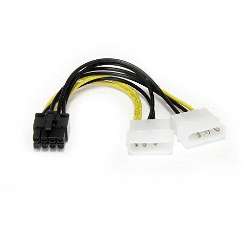 StarTech.com 2x ペリフェラル電源コネクタ(4ピン/オス) - PCI Express電源コネクタ(8ピン/オス) 変換アダプタケーブル 15cm LP4PCIEX8ADP