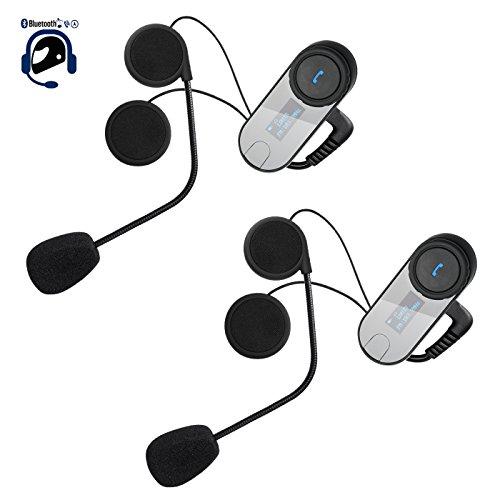 EiSoku バイク用Bluetoothインカム 2台セット 液晶ディスプレイ 小型インターコム 3riders ラジオ 音楽 ナビ 電話応答 通信距離800M 防水 2人同時通話 日本語説明書(ハード)