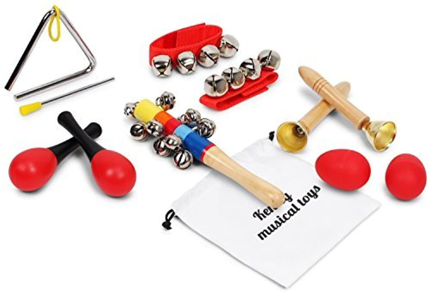 Kenley Musical Instruments for Kids - Percussion & Rhythm Maracas Band Play Music Toys for Baby Children & Toddlers - Set of 10 [並行輸入品]