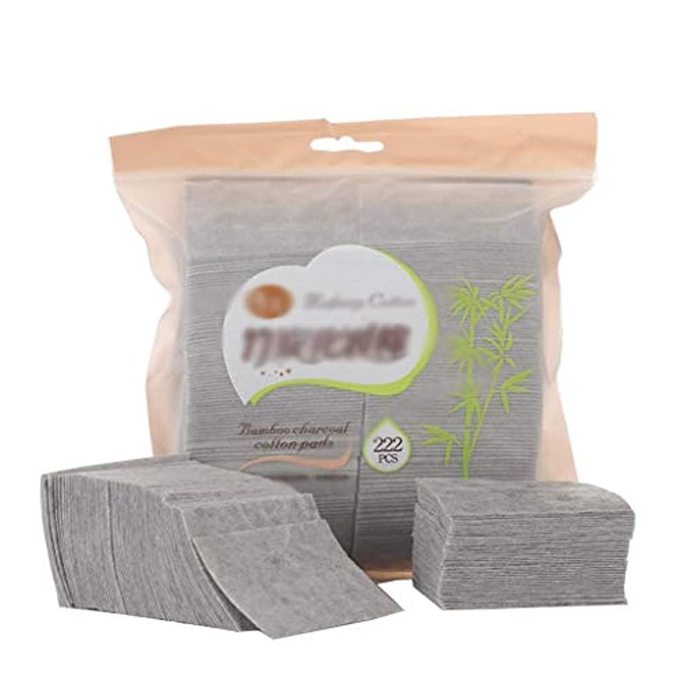 アセンブリ低いポルティコクレンジングシート 222ピース箱入り竹炭化粧コットンパッド両面使い捨て洗顔コットンポータブルメイクアップコットンピース (Color : Gray, サイズ : 5*7cm)