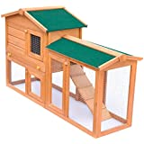 vidaXL Outdoor Large Rabbit Wood Hutch Small Animal House Pet Cage Habitat