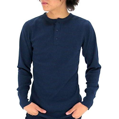 (アヴィレックス) AVIREX Tシャツ メンズ ブランド 長袖 ヘンリーネック 無地 サーマル ワッフル 4color M ネイビー