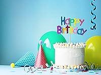 バースデー お誕生日 背景布 バック 簡単 フォトスポット Happay birthday ブルー ホールケーキ≪かんたんフォトブース Marshmallow Baby オリジナル ≫ (ブルー,M(約150×200cm))[611027471]