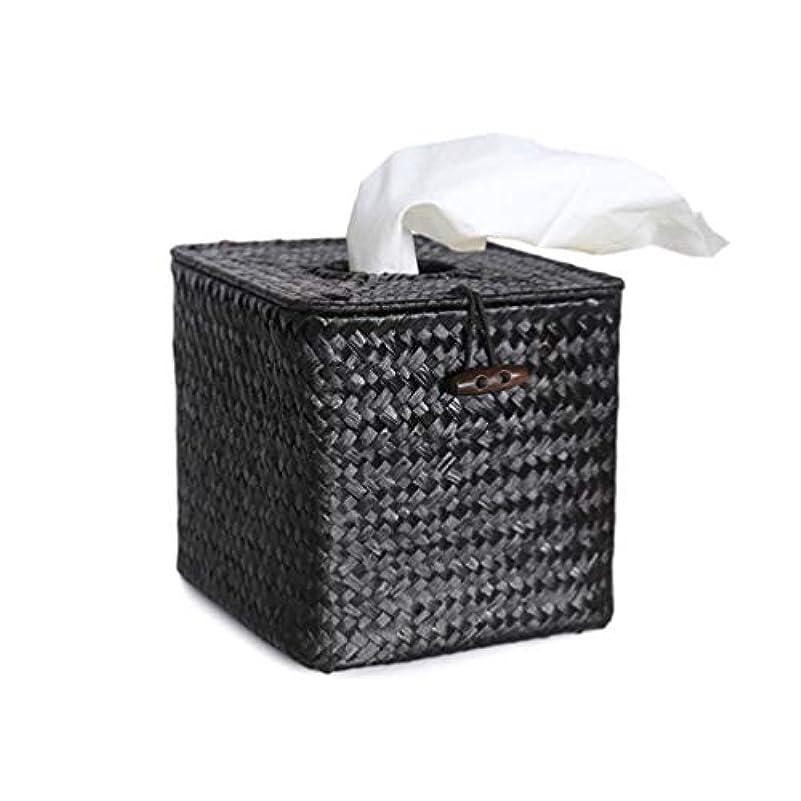 広く経営者テナントVosarea バスルームデスクホテル用ペーパーシーグラス手織りナプキンティッシュボックスカバーホルダー(ブラック+最小販売5pcs)