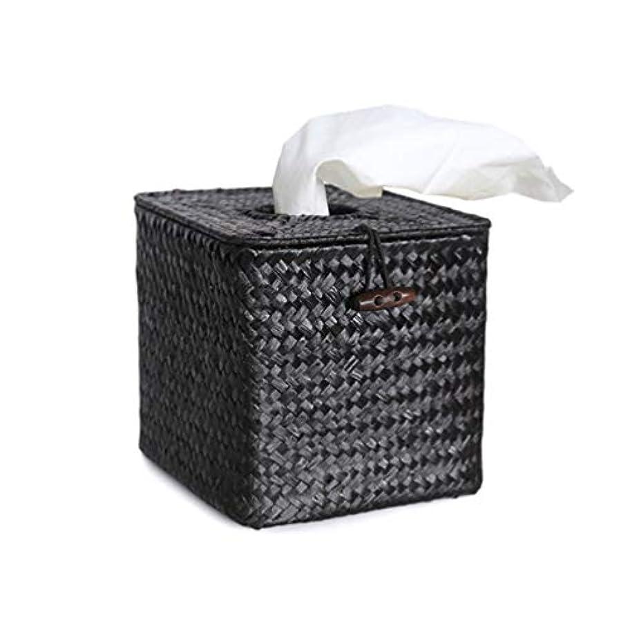 スクリュー免除する適切にVosarea バスルームデスクホテル用ペーパーシーグラス手織りナプキンティッシュボックスカバーホルダー(ブラック+最小販売5pcs)