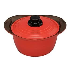 アイリスオーヤマ 鍋 無加水鍋 24cm 深型 レッド MKS-P24D