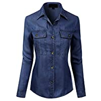 MixMatchy Women's Classic Long Sleeve Button Down Tencel Shirt with Pockets