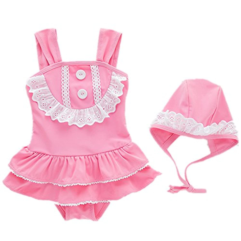 ピンクのロータスリーフスカート、キャップガールズワンピース水着 (色 : ピンク, サイズ : 2T)