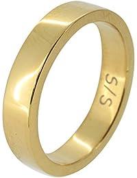 新宿銀の蔵 選べる3カラー シンプル平打ち サージカルステンレス リング 7~21号 (ゴールド 13号) 指輪 メンズ レディース シンプル