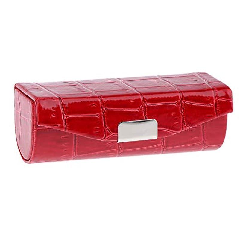 Sharplace 口紅ケース 小物収納ケース プレゼント ミラー付き 多色選べ - 赤