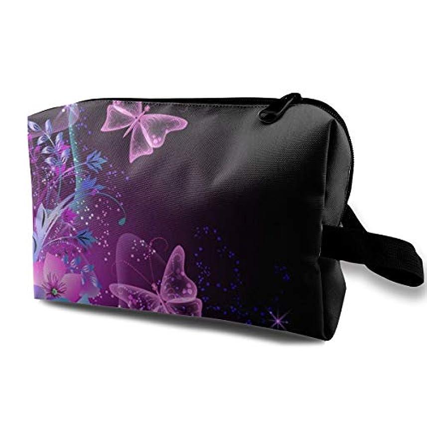 特定の桁鬼ごっこPink Purple Butterfly 収納ポーチ 化粧ポーチ 大容量 軽量 耐久性 ハンドル付持ち運び便利。入れ 自宅・出張・旅行・アウトドア撮影などに対応。メンズ レディース トラベルグッズ