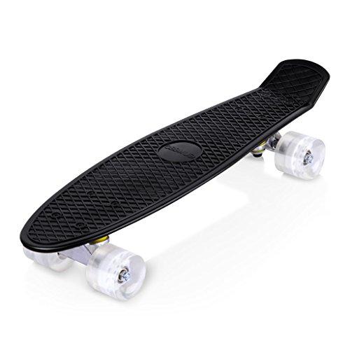 enkeeo スケートボード クルーザー ABEC7製ベアリング 高精度 集中力や平衡感覚育成 大人/若者/子供用 誕生日プレゼントなどに YWHB-27【メーカー保証】(ブラック)