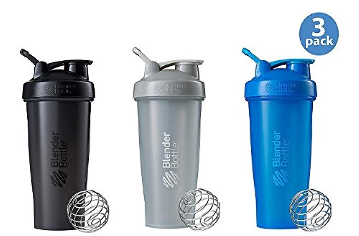 ランチ形謎BlenderBottle Classic Loop Top Shaker Bottle 3-Pack, 28 oz, Colors may vary 141[並行輸入]