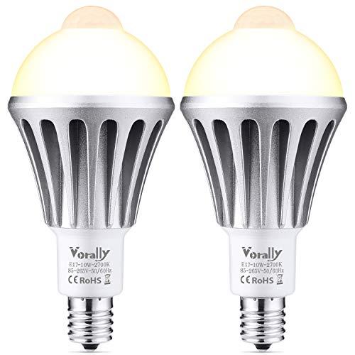 センサー電球 E17 電球色 2個セット Vorally LED電球 10W 800lm 80W相当 光と人感センサー 高輝度 節電 センサーライト (電球色)