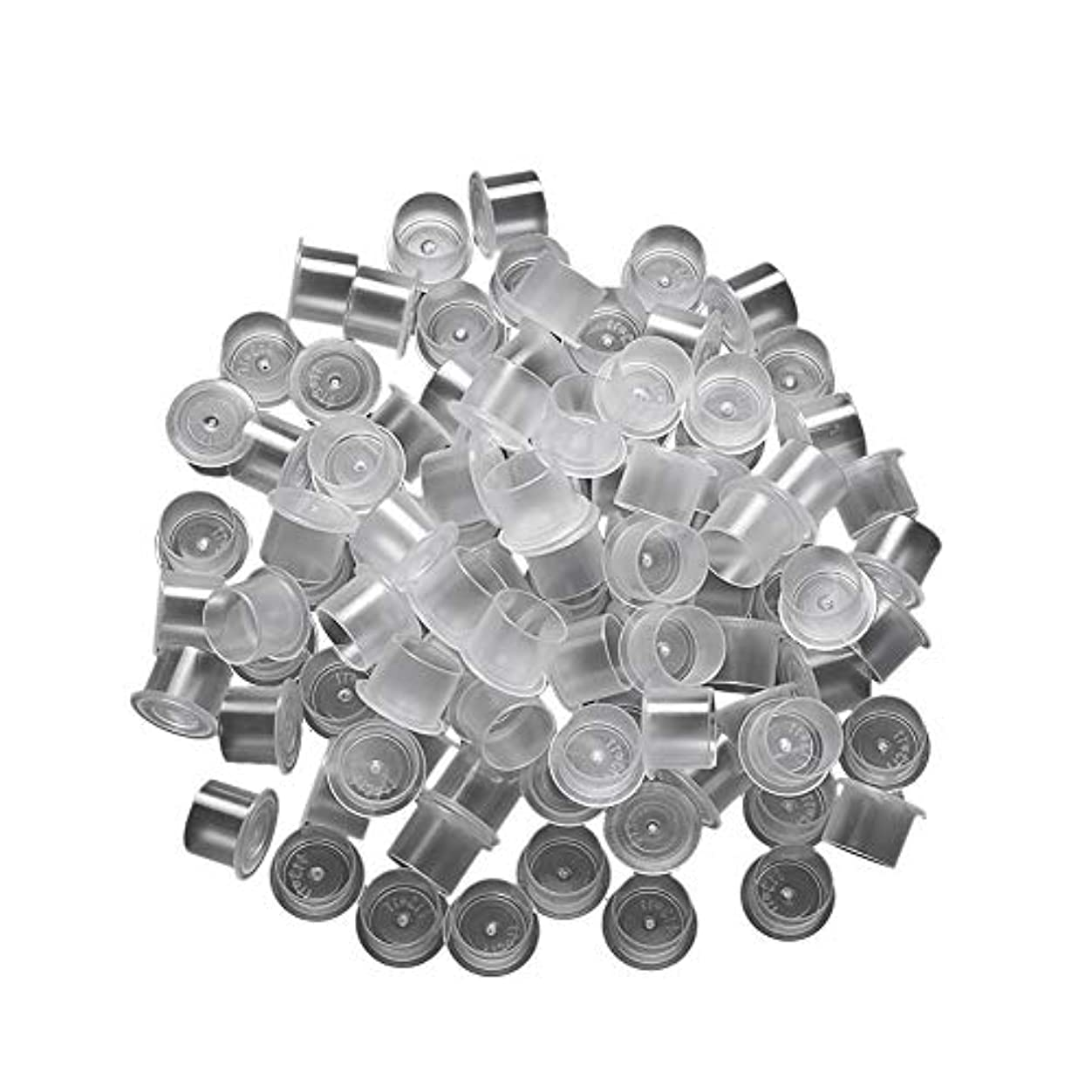 電気技師シフト小道具用品小さいサイズの入れ墨カップキャップ約100個使い捨てインク入れ墨顔料カップカップベース