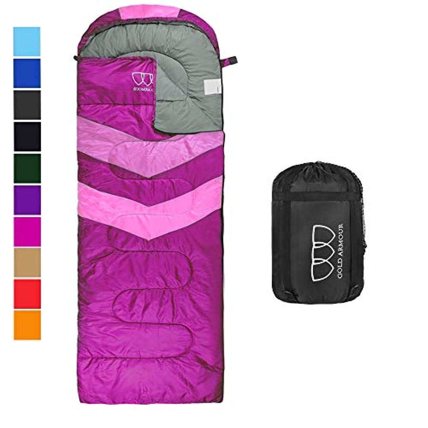 秘書逃れる任命するGold Armour 寝袋 - 寝袋 屋内&屋外用 - 子供 男の子 女の子 ティーン 大人に最適 超軽量コンパクトバッグはハイキング、バックパッキング、キャンプに最適