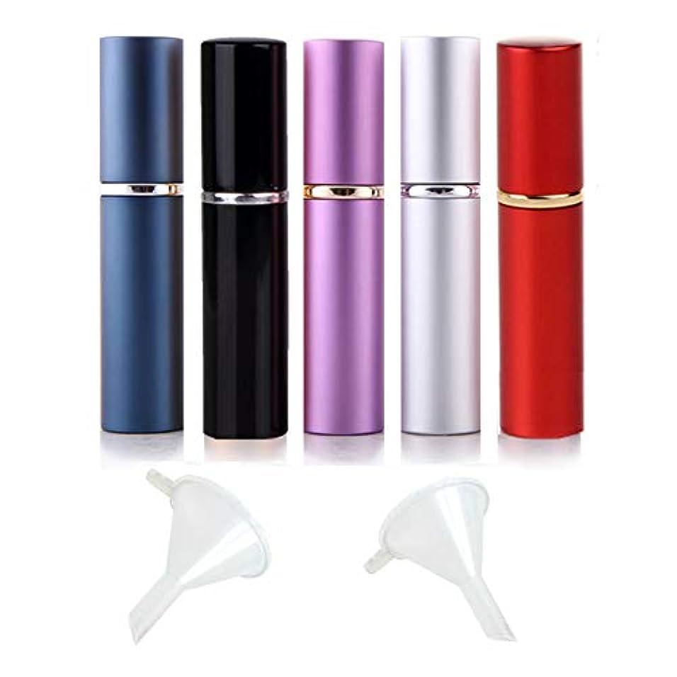 安全放散するほとんどないアトマイザー 5本 香水ボトル 香水瓶 6ml詰め替え容器 レディース スプレーボトル ミニ漏斗付き