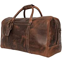 Leather Travel Duffel Bag Overnight Weekend Luggage Carry On Underseat Airplane