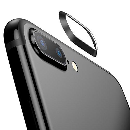 【2枚セット】ElekFX 高品質iPhone8Plusカメラレンズ保護リング iPhone7Plusレンズガード アルミ 合金素材 傷防止 高級感あり アイフォン8/7プラス対応(黒)