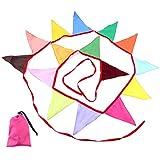 TKS フラッグガーランド ポリエステル素材 約320cm キャンプや催し物の装飾に カラフル レインボーカラー パーティーフラッグ バンティング デコレーション 祝い事 記念日 各種イベントを彩る 三角旗