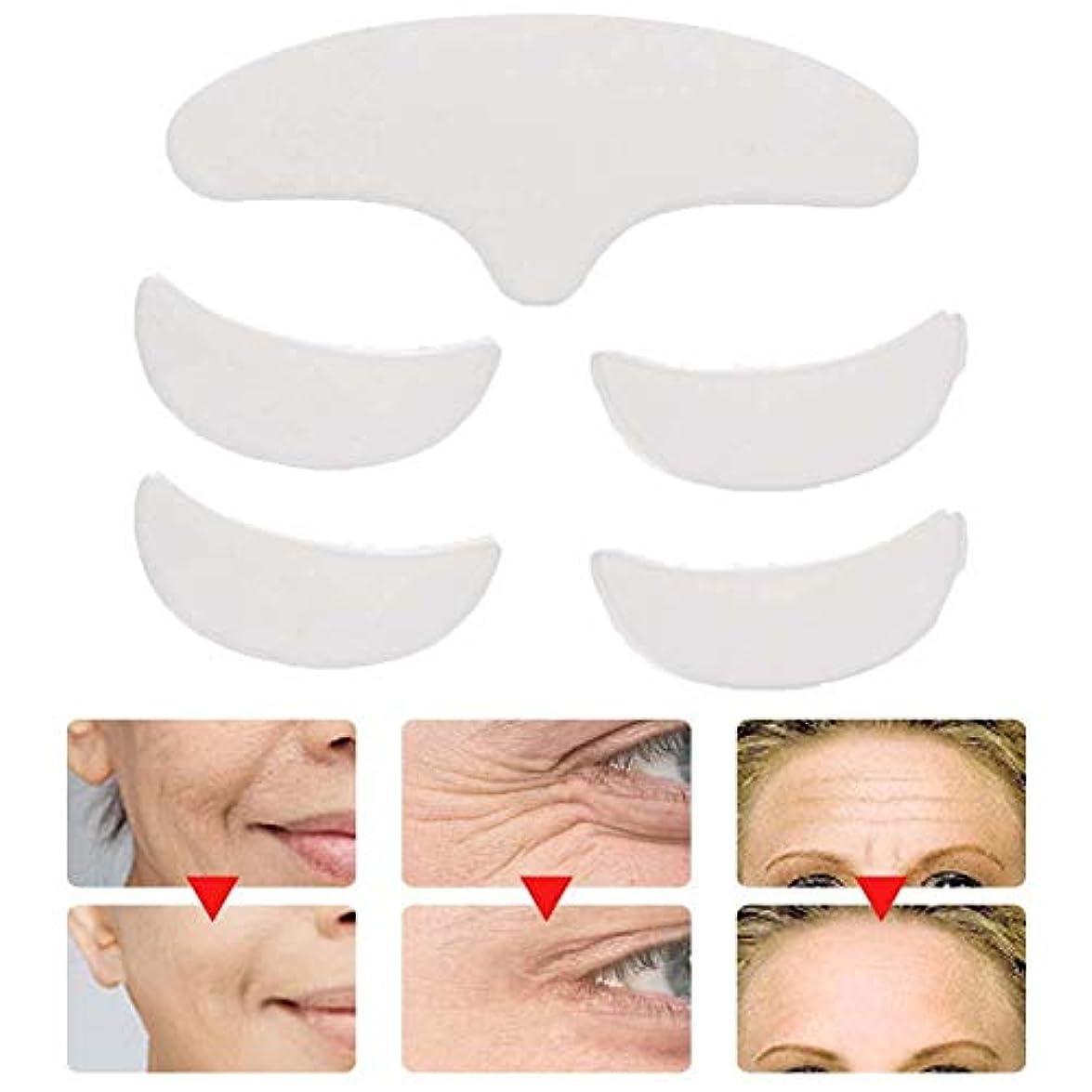 長さプラスショルダー5個再利用可能な洗える額の目の顔のパッチ、抗しわパッドスキンリフティングシリコーンパッチ