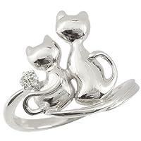 [アトラス] Atrus ネコ の ピンキーリング ダイヤモンド ソリティア 一粒の宝石 ホワイトゴールドK18 K18WG 18金 指輪 15号 一粒宝石とアベック猫のかわいいリング ファッションリング