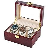 GAOBEI Watch Jewelry Box for Men 6 Slot Watch Box,6 Watch Case 3 Sunglasses Display Box,Large Watch Display Case Organizer wi