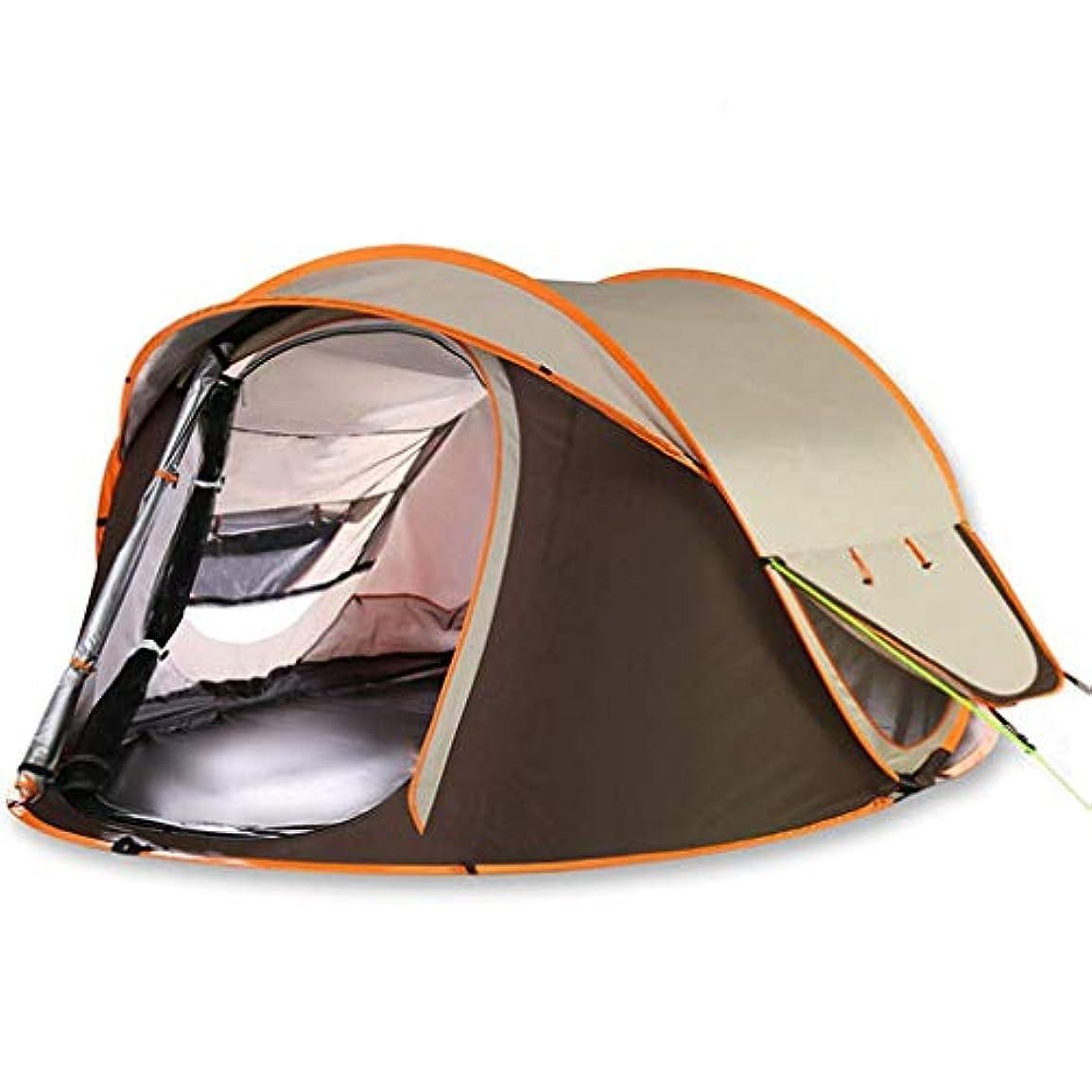 病弱作曲家マリンIDWOI テント 自動 2秒 スピードオープン ドームテント 3-4人 4シーズン 防水 アンチUV キャンプのテント、2色 (Color : Brown)