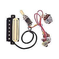 Muslady エレキギターデュアルレイルブリッジ ハムバッカーピックアップ+シングルコイルピックアップ 3セクションスイッチワイヤーライン付き ST シガーボックスギター用