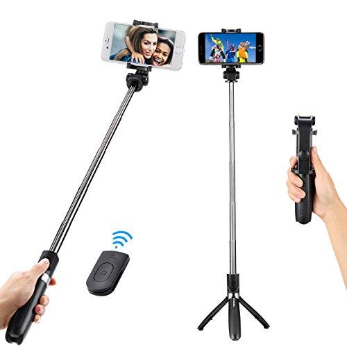 DOKRO 自撮り棒 セルカ棒 三脚付き Bluetoothリモコン付き コードレス 無線 iPhoneもAndroidも対応可 (ブラ...