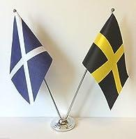 emblems-gifts Scotland & Wales St Davidsフラグクロム、サテンテーブルデスク国旗セット