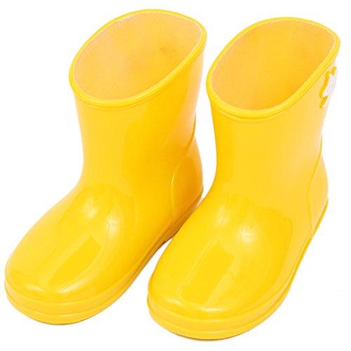 子供用レインブーツ可愛い長靴キッズレインシューズ雨靴ジュニアスニーカー防水防寒入園準備子ども幼児小学生通園通学女の子男の子安全雨、雪遊び無地雨具軽量軽いおしゃれ(15cm,イエロー)